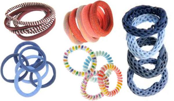 seturi elastice de păr pentru dispunere în model unul după altul pe coadă