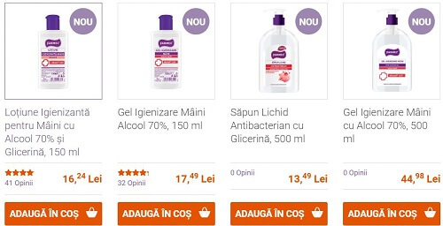 loțiuni și geluri de dezinfectare pentru mâini Farmec