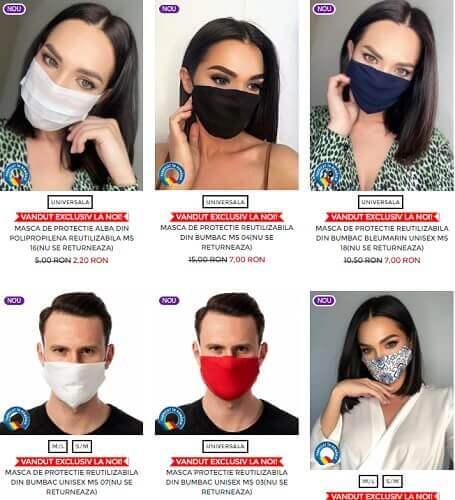 măști de protecție pentru femei și bărbați diverse modele și culori
