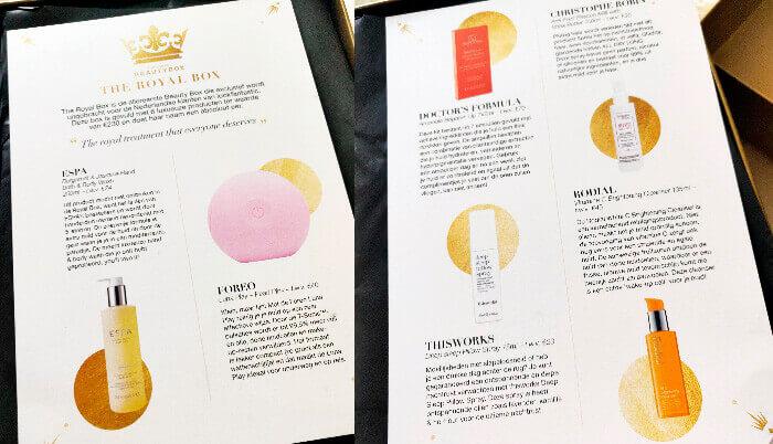 Royal Beauty Box de la Look Fantastic cartolină descriptivă interior