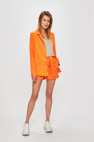 pantaloni scurți cu cordon retro cu buzunare portocalii în mărimi XXL pentru femei plinuțe