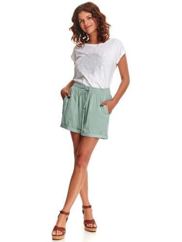 pantaloni scurți cu elastic și șnur în talie verde-mentă cu buzunare pentru femei plinuțe