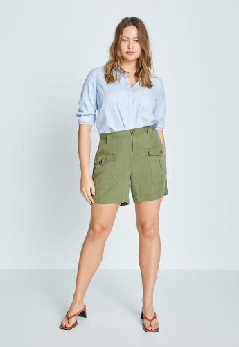 pantaloni scurți tip bermude din denim subțire kaki cu buzunare practice tip cargo pentru femei plinuțe