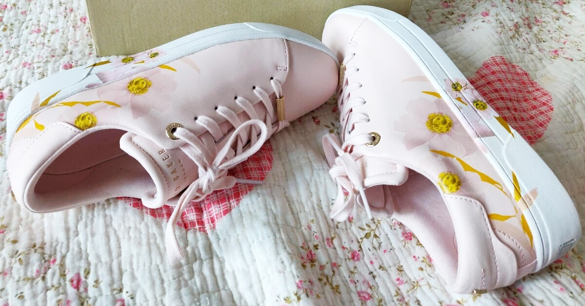 pantofi sport cu imprimeu floral Ted Baker roz pal