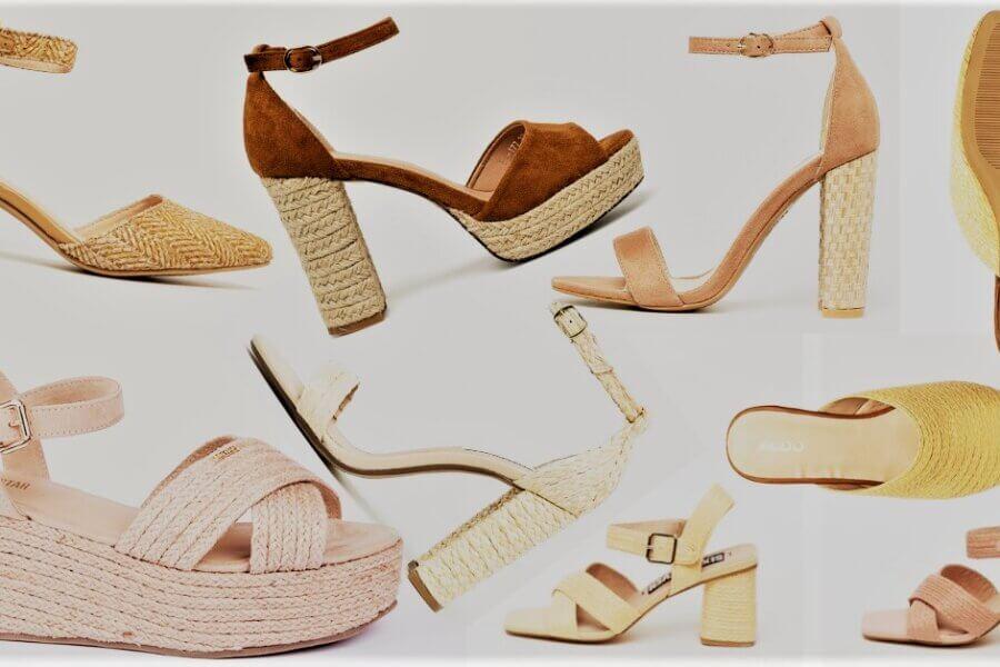 sandale și pantofi împletiți ca din rafie iută și paie