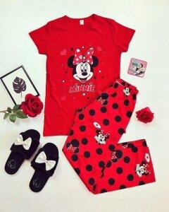 pijamale dama lunga rosie cu desen și imprimeu Minnie Mouse