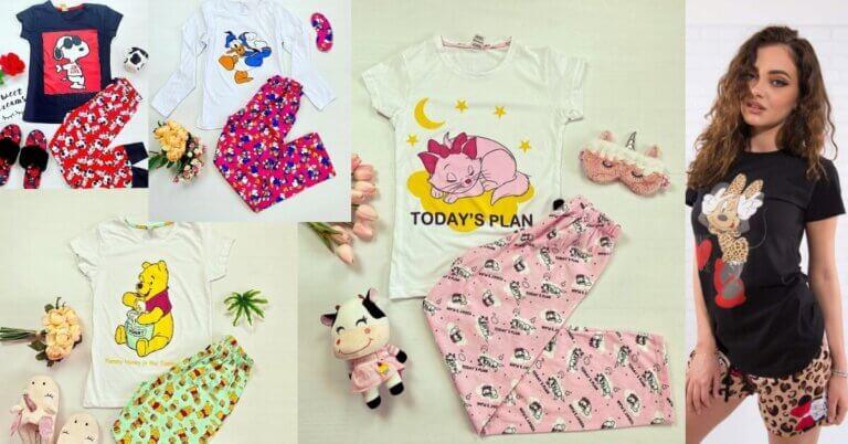 pijamale de damă cu personaje din desene animate