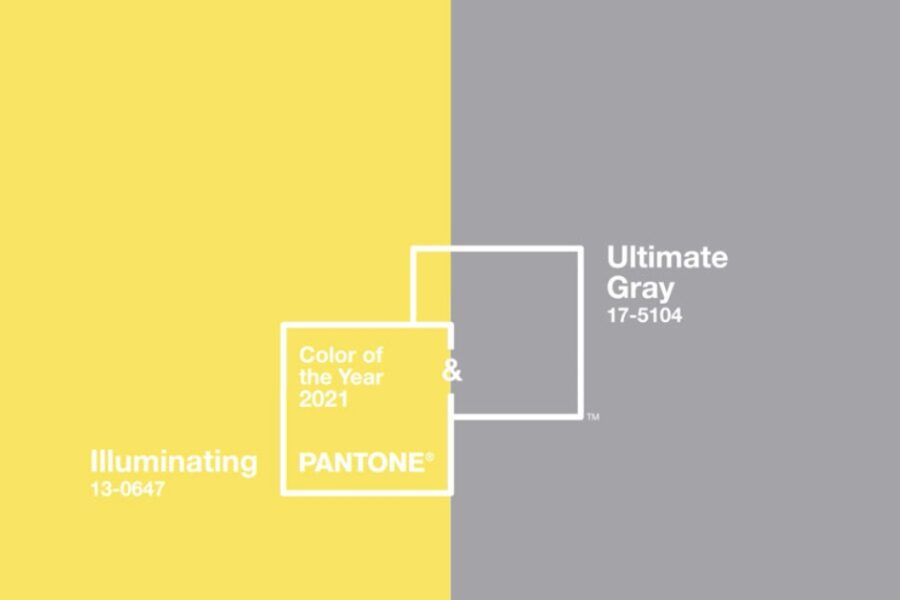 culorile anului 2021 stabilite de către Institutul de Culori Pantone_Ultimate Gray gri și Illuminating Yellow_galben