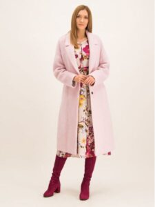 Palton lung Laurèl - roz și pufos