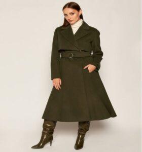 Palton lung tip trenci cloș Sportmax Code verde militar stil vintage din 100% lână virgină