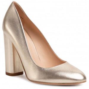 Pantofi cu toc gros și vârf rotund de culoare auriu mat