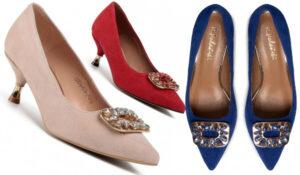 Pantofi de prințese cu toc scurt stil kitten cu detalii din pietre în partea din față R. Polański