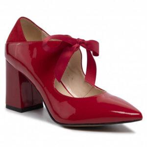 Pantofi roșii din lac cu panglică legată frontal în fundă