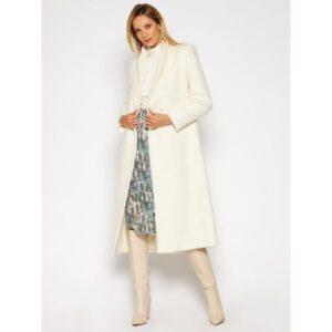 palton lung alb gălui minimalist Patrizia Pepe