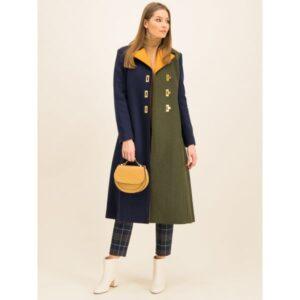 palton lung peste genunchi cu lână de oaie stil color block Tory Burch