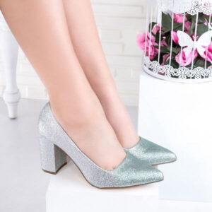 pantofi-dama-cu sclipici-cu-toc-argintii-cu-verde-lusaria