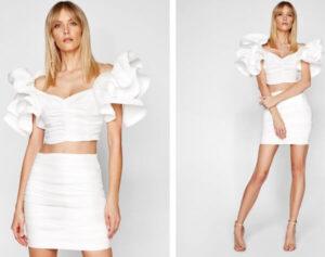 Compleu alb cu bluză cu volane imense, stil latino cu fustă-creion cu drapaje Elisabetta Franchi