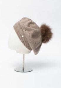 beretă tricotată Liu Jo cu strasuri și ciucure pufos