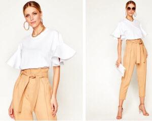 bluză tip tricou cu mâneci stil volane - alb, minimalist Victoria Beckham