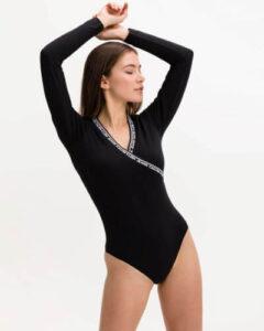 body negru tip bluză cu mâneci lungi din bumbac organic Calvin Klein