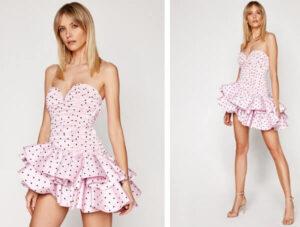 rochie roz delicat cu buline negre și volane suprapuse mari pe fustă For Love & Lemons