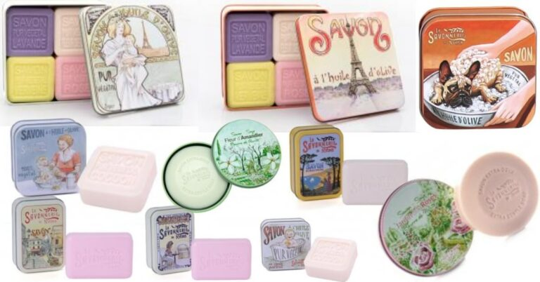 săpunuri solide în cutii metalice stil vintage cu ilustrații diverse
