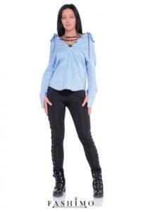 bluză tip cămașă bleu cu șnur în loc de nasturi_ieftină