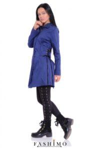 cămașă lungă albastră tip rochie cu detalii de corset cu șnururi în talie