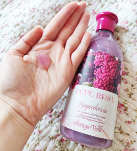 gel de duș hidratant cu piper roz Bottega Verde Pepe Rosa_textură