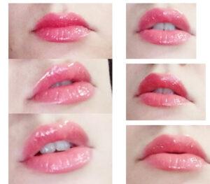 luciu de buze Melkior Coral Crush_cum arată pe buze_swatches