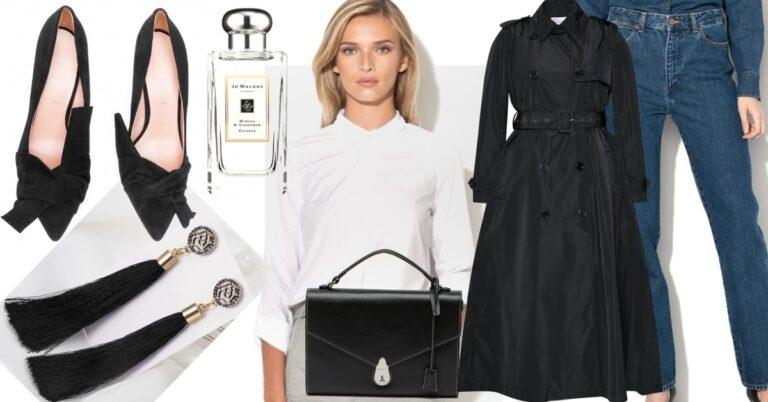 ținută simplă de primăvară cu blugi, trenci negru și cămașă albă