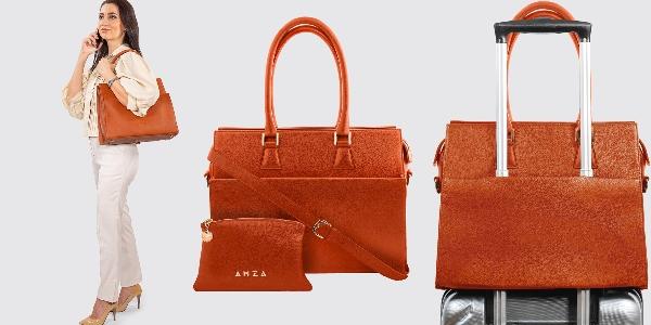 Geantă elegantă din piele cu etui interior pentru laptop AMZA Bags