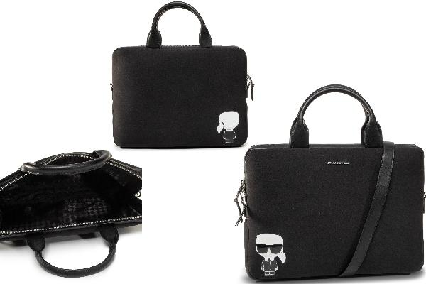 Geantă neagră pentru laptop Karl Lagerfeld cu iconicul personaj