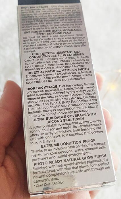 fond de ten Dior Backstage Face & Body_prescripții ambalaj
