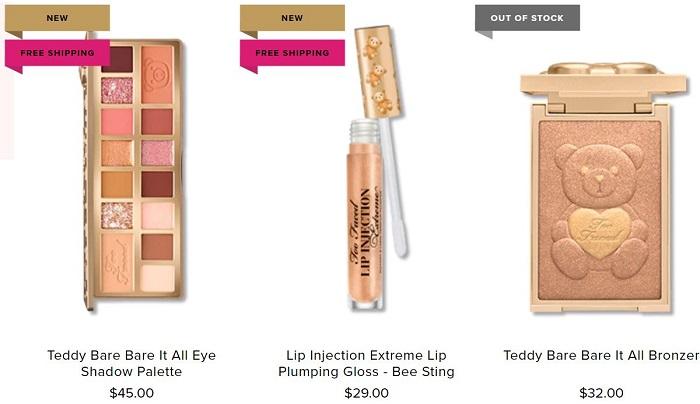 noua colecție de produse de makeup Teddy Bare Too Faced