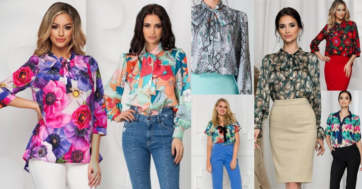 cămăși și bluze cu imprimeu tip eșarfă