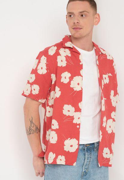 cămașă pentru bărbați de vară GAP cu imprimeu floral alb-roșu
