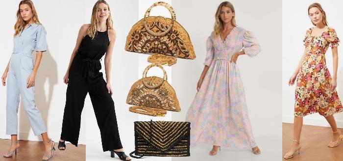 genți împletite din ratan cu broderie și rochii cu imprimeu floral și salopete de vară