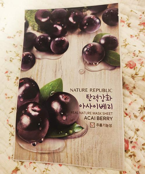 mască tip șervețel Nature Republic cu acai berry_review