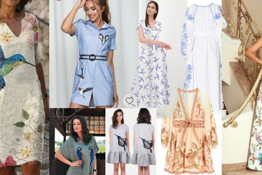 rochii cu imprimeuri și broderii cu păsări