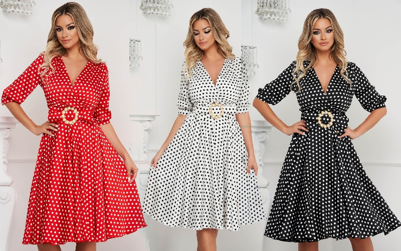 rochie cloș midi de inspirație retro cu imprimeu cu buline și fundă cu cataramă de perle în talie