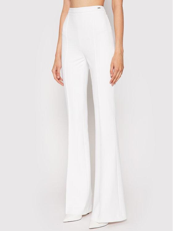 elisabetta-franchi-pantaloni albi evazați la dungă-cu talie înaltă