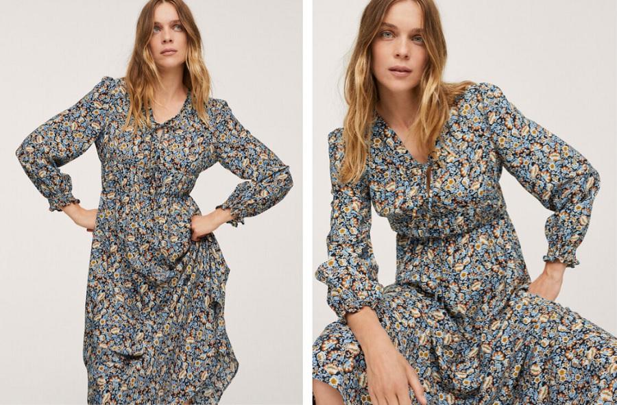 rochie cu imprimeu floral midi Mango